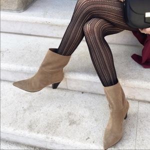 Zara Leather Boots Taupe Calf Ankle